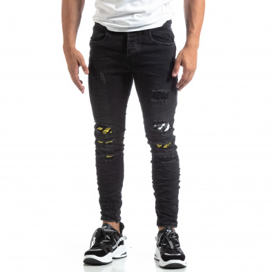 Slim fit ανδρικό μαύρο τζιν με διακοσμήσεις  it170819-50 4