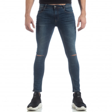 Ανδρικό γαλάζιο Skinny τζιν με φερμουάρ it040219-6 3