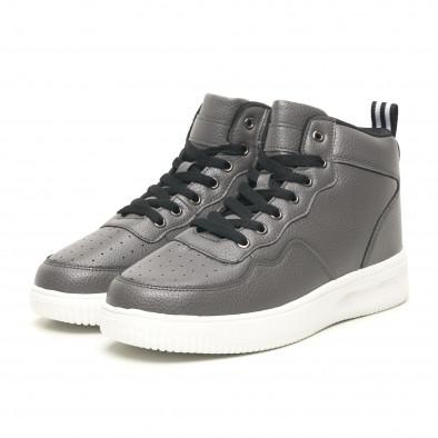 Ανδρικά γκρί ψηλά sneakers με Shagreen design it251019-22 3