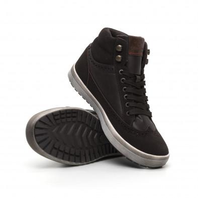 Ανδρικά καφέ ψηλά sneakers  it260919-44 4