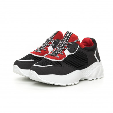 Γυναικεία αθλητικά παπούτσια σε κόκκινο και μαύρο ελαφρύ μοντέλο it130819-61 3