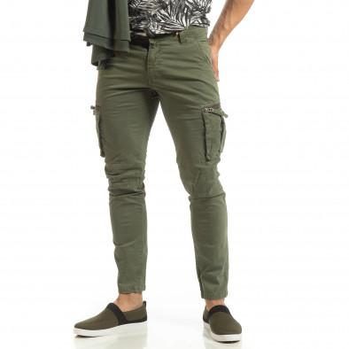 Ανδρικό πράσινο παντελόνι cargo σε ίσια γραμμή it090519-15 3