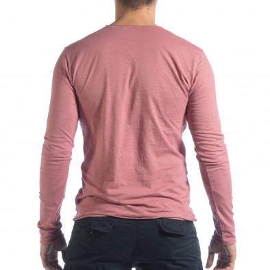 Ανδρική ροζ μπλούζα V-neck it040219-86 3