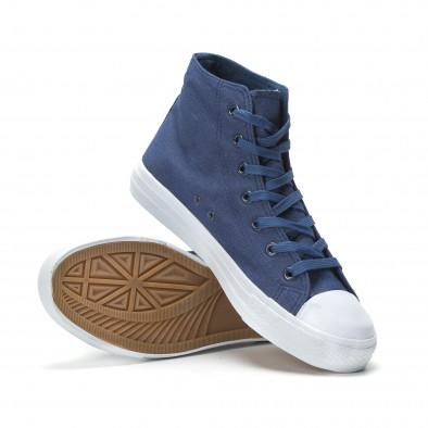 Ανδρικά μπλε sneakers με λευκή σόλα it250119-1 4