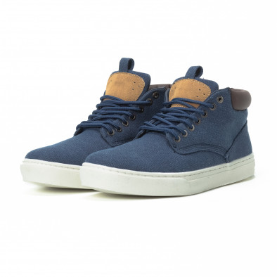 Ανδρικά μπλε υφασμάτινα sneakers με δερμάτινη λεπτομέρεια it150818-19 3