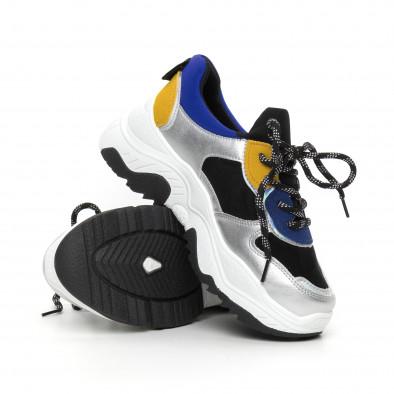 Γυναικεία γκρι αθλητικά παπούτσια με πολύχρωμες λεπτομέρειες it130819-60 4
