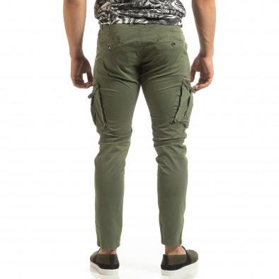 Ανδρικό πράσινο παντελόνι cargo σε ίσια γραμμή it090519-15 4