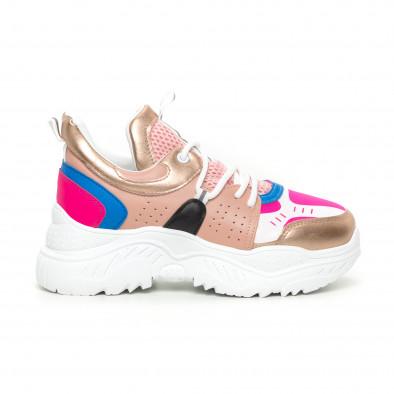 Γυναικεία Chunky αθλητικά παπούτσια ροζ και μπλέ it130819-65 2