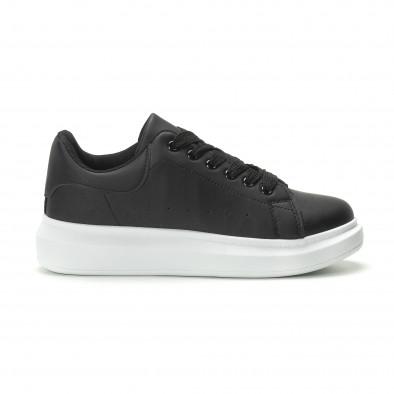 Ανδρικά μαύρα sneakers με χοντρή σόλα it250119-31 2