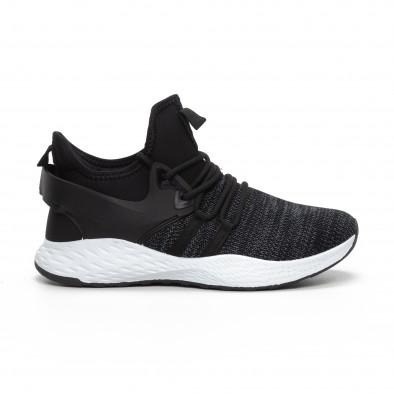 Ανδρικά μαύρα μελάνζ αθλητικά παπούτσια με νεοπρέν it240419-4 2