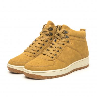 Ανδρικά ψηλά camel sneakers τύπου μποτάκια it251019-19 4