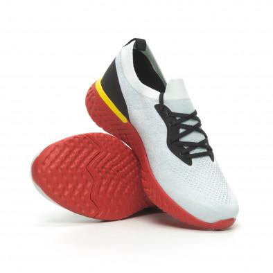 Ανδρικά γκρι μελάνζ αθλητικά παπούτσια με κόκκινη σόλα it100519-1 4