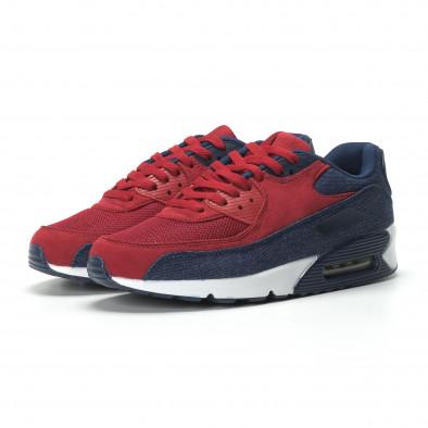 Ανδρικά αθλητικά παπούτσια Air κόκκινο χρώμα και ντένιμ it250119-27 3