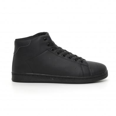 Ανδρικά μαύρα ματ ψηλά sneakers Basic it130819-17 2