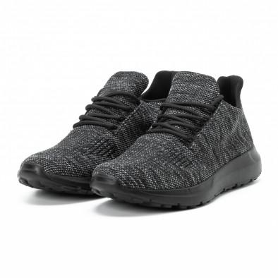 Ανδρικά μαύρα μελάνζ αθλητικά παπούτσια  it140918-19 3