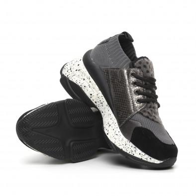 Γυναικεία γκρι αθλητικά παπούτσια Patchwork design it260919-81 4