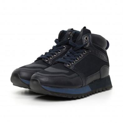 Ανδρικά ψηλά μπλέ αθλητικά παπούτσια  it130819-24 3