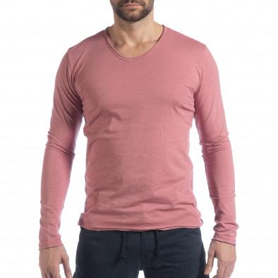 Ανδρική ροζ μπλούζα V-neck it040219-86 2
