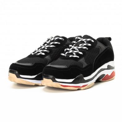 Ανδρικά αθλητικά παπούτσια σε μαύρο και κόκκινο με χοντρή σόλα it221018-41 3