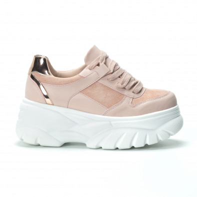 Chunky γυναικεία ροζ sneakers με πλατφόρμα it250119-50 3