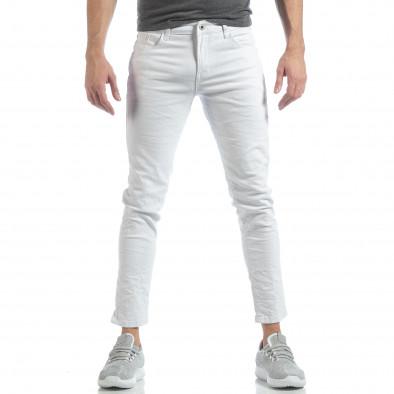 Ανδρικό λευκό Skinny τζιν με τσαλακωμένο εφέ it040219-1 2