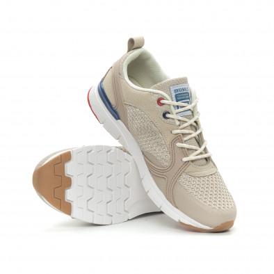Ανδρικά μπεζ αθλητικά παπούτσια με κορδόνια it150319-30 4