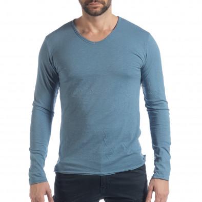 Ανδρική γαλάζια μπλούζα V-neck it040219-85 2