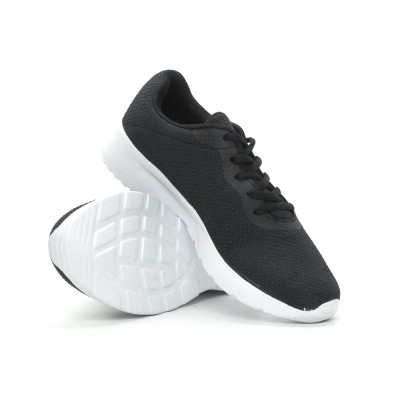 Ανδρικά μαύρα υφασμάτινα αθλητικά παπούτσια  it150319-3 4