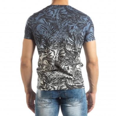 Ανδρική μπλε κοντομάνικη μπλούζα Leaves μοτίβο it150419-106 4