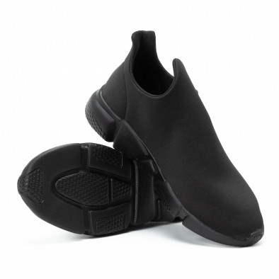 Ανδρικά μαύρα slip-on αθλητικά παπούτσια All black από νεοπρέν it140918-15 4