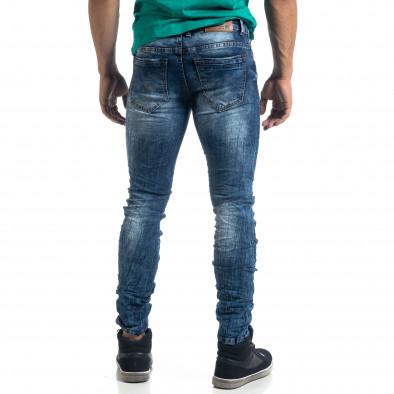 Washed ανδρικό μπλε τζιν τσαλακωμένο μοντέλο Slim fit it041019-35 4