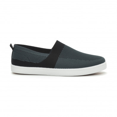 Ανδρικά γκρι πλεκτά sneakers με μαύρες λεπτομέρειες it150319-18 2