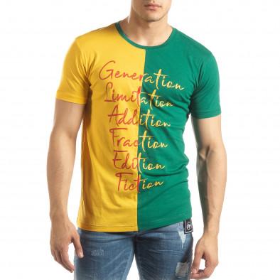 Ανδρική πράσινη-κίτρινη κοντομάνικη μπλούζα με πριντ it150419-58 2