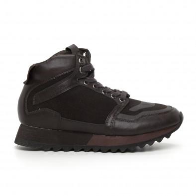 Ανδρικά ψηλά καφέ αθλητικά παπούτσια  it130819-26 2