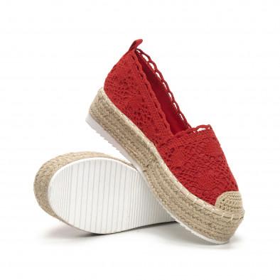 Γυναικείες κόκκινες πλεκτές εσπαντρίγιες Rustic style it240419-38 4
