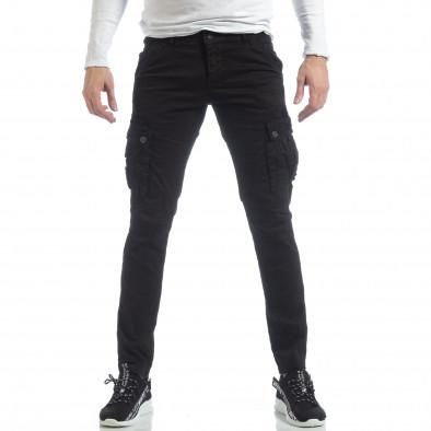Ανδρικό μαύρο παντελόνι με cargo τσέπες it040219-40 2