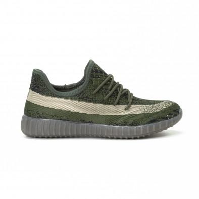 Ανδρικά πράσινα αθλητικά παπούτσια από πλεκτό ύφασμα it150818-7 2