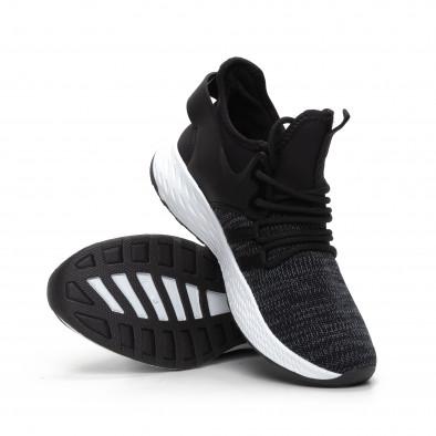 Ανδρικά μαύρα μελάνζ αθλητικά παπούτσια με νεοπρέν it240419-4 4