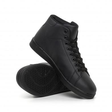 Ανδρικά μαύρα ματ ψηλά sneakers Basic it130819-17 4
