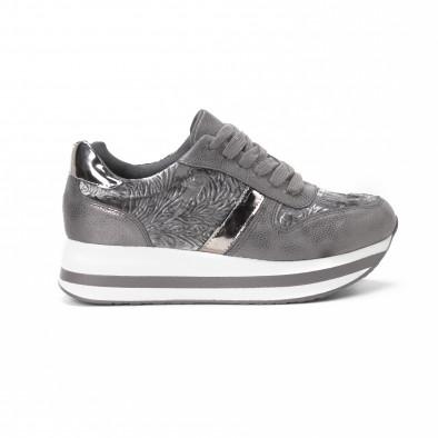 Γυναικεία γκρι sneakers με πλατφόρμα it150818-80 2