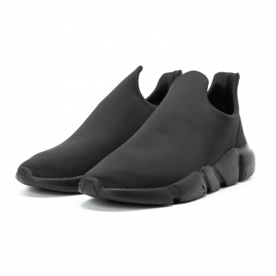 Ανδρικά μαύρα slip-on αθλητικά παπούτσια All black από νεοπρέν it140918-15 3