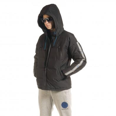 Ανδρικό μαύρο καπιτονέ  χειμωνιάτικο μπουφάν με κουκούλα it091219-14 3