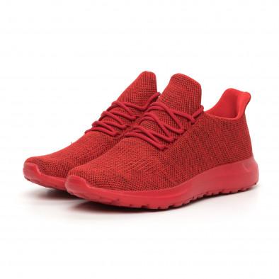 Ανδρικά κόκκινα μελάνζ αθλητικά παπούτσια με διακόσμηση it130819-11 3
