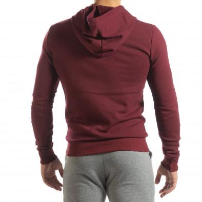 Ανδρικό μπορντό φούτερ Basic με τσέπη καγκουρό it150419-42 4