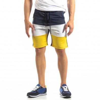 Ανδρικό μπλε σορτς με λευκό και κίτρινο it150419-30 2