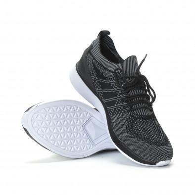 Ανδρικά μαύρα πλεκτά αθλητικά παπούτσια με γκρι λεπτομέρειες it190219-3 4