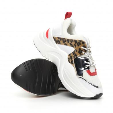 Γυναικεία αθλητικά παπούτσια σε λευκό και λεοπάρ it130819-83 4