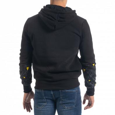 Ανδρικό μαύρο φούτερ hoodie με πριντ it071119-64 4