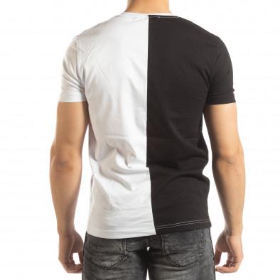 Ανδρικό ασπρόμαυρο κοντομάνικο μπλουζάκι με πριντ it150419-57 3