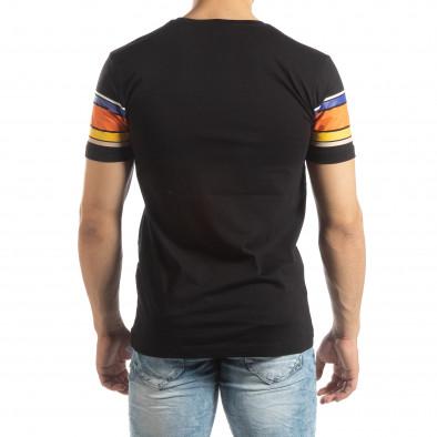 2f9adfbc8b3d ... Ανδρική μαύρη κοντομάνικη μπλούζα με πολύχρωμες ρίγες it150419-53 3